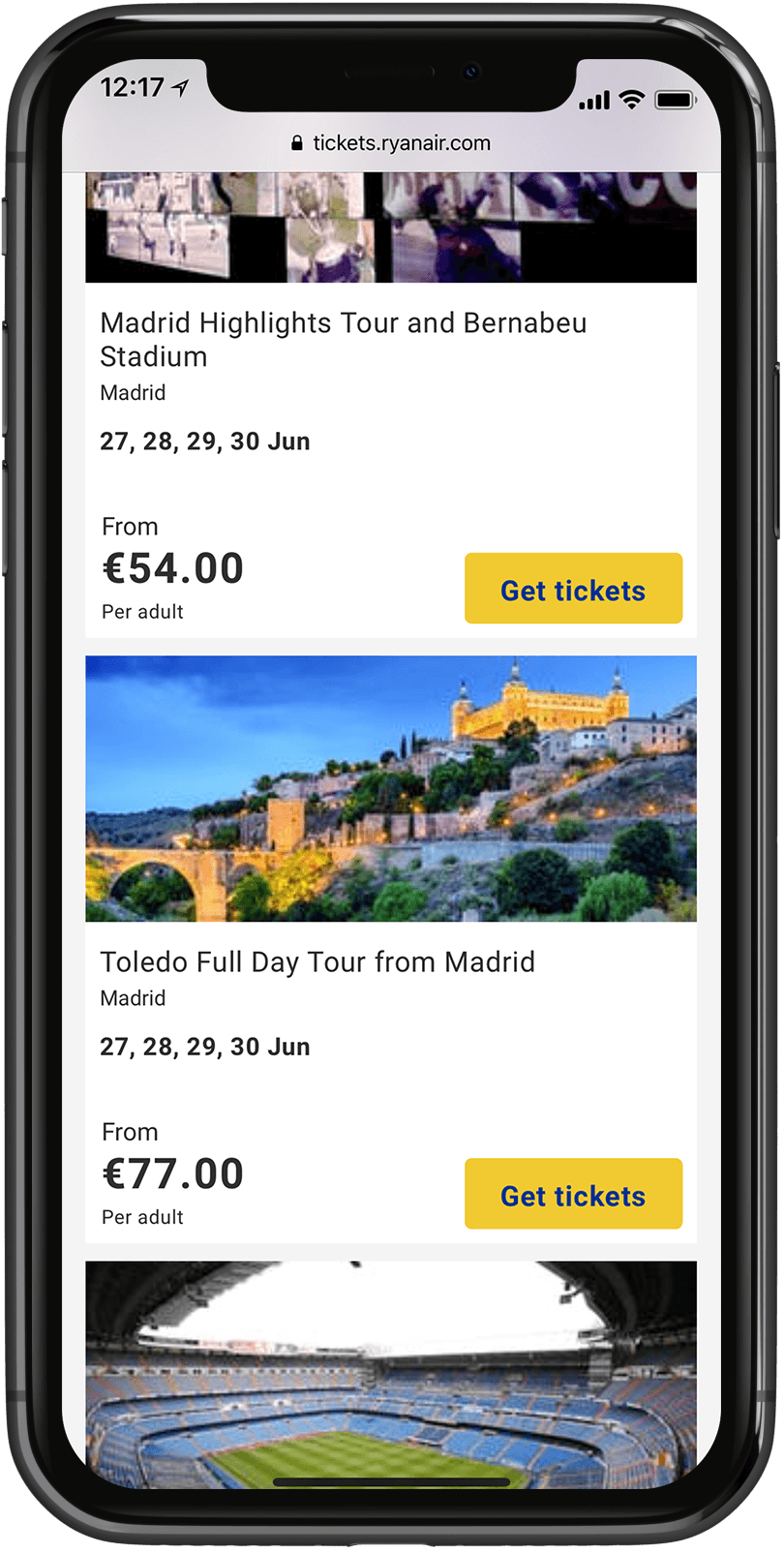 Ryanair Tickets's list of Madrid ticket offerings such as a tour around the Bernabeu Stadium or a Taledo day tour.