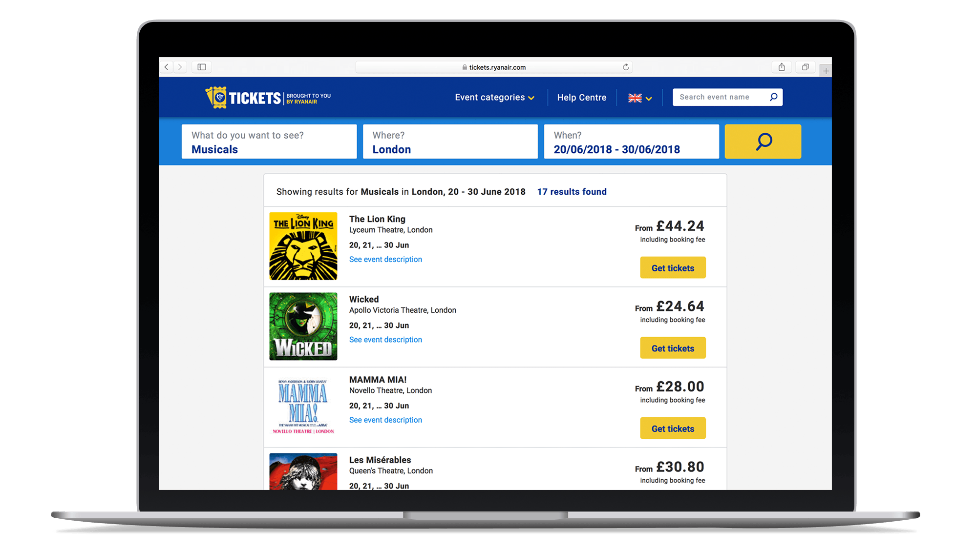 Laptop showing Ryanair Tickets' selection of live events in London between certain dates.
