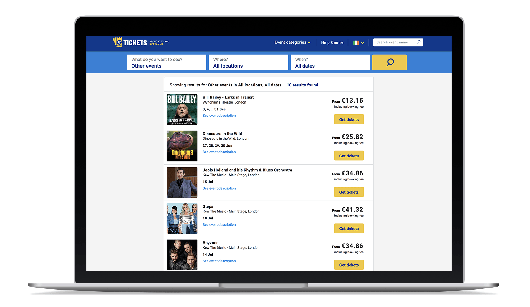 Laptop showing Ryanair Tickets' selection of live events in the UK.