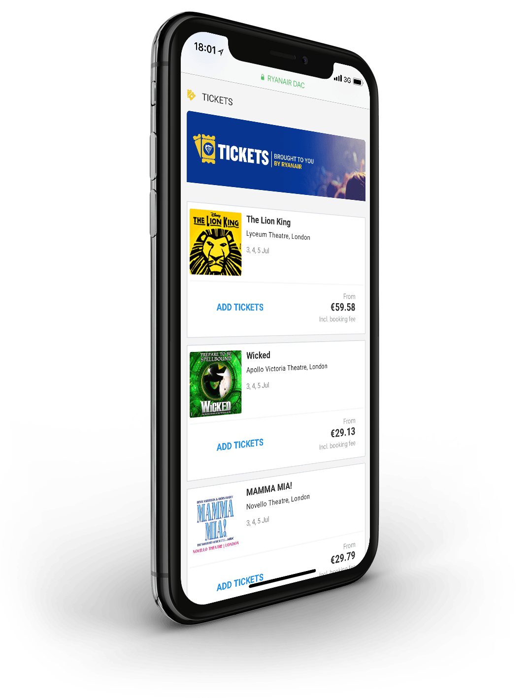 Ryanair Tickets displayed on iPhone